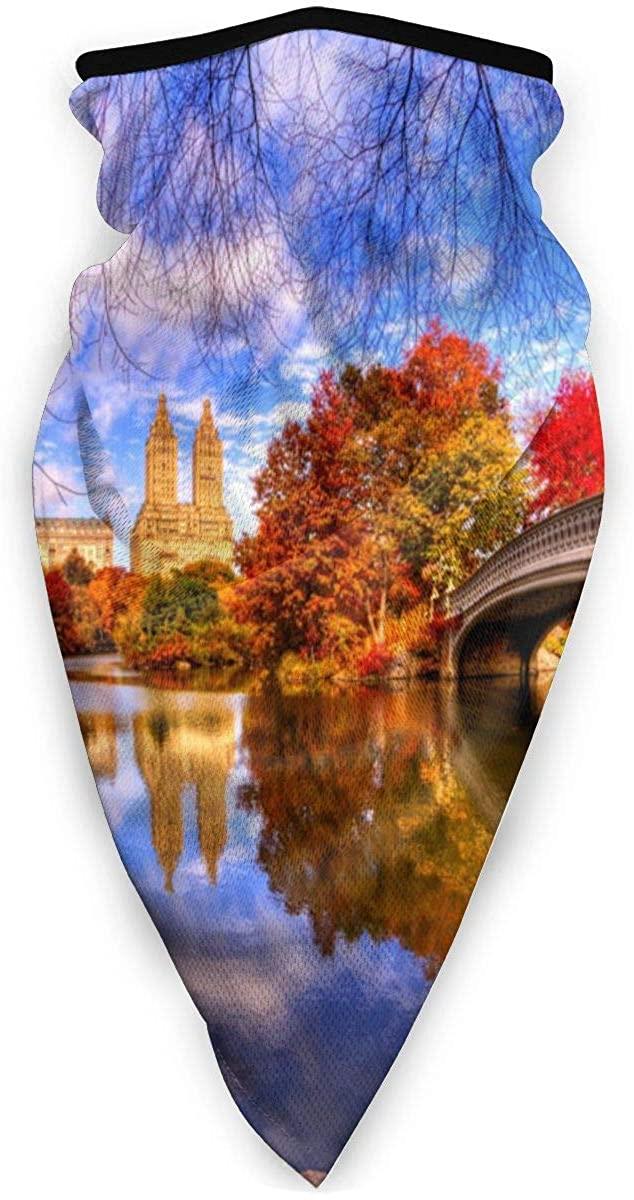 Sport Scarf Face Sun Maskautumn Nature Park Trees Water Bridge Reflection Central Park Dustproof Windproof Variety Head Scarf Balaclava For Women Men