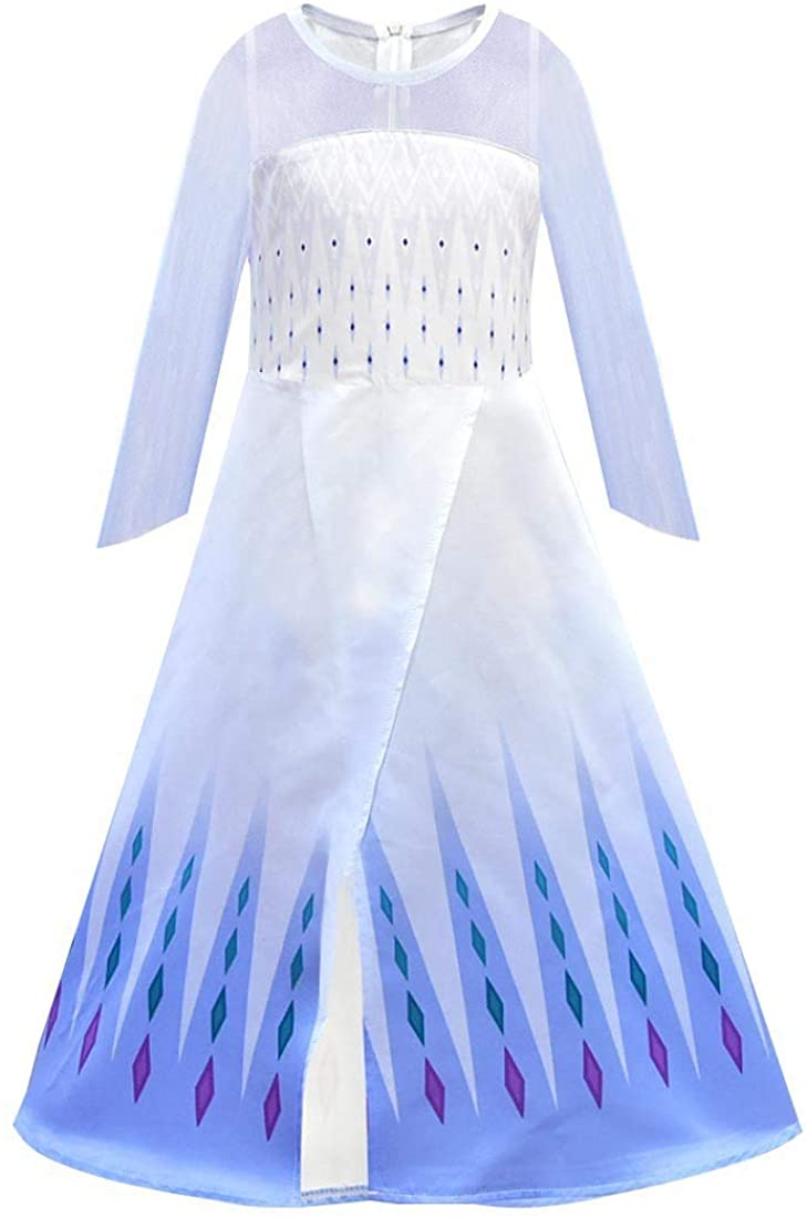 CosplayDiy Girl's Princess Inspired Snow Queen Elsa Party Cosplay Costume White Dress Age 2+