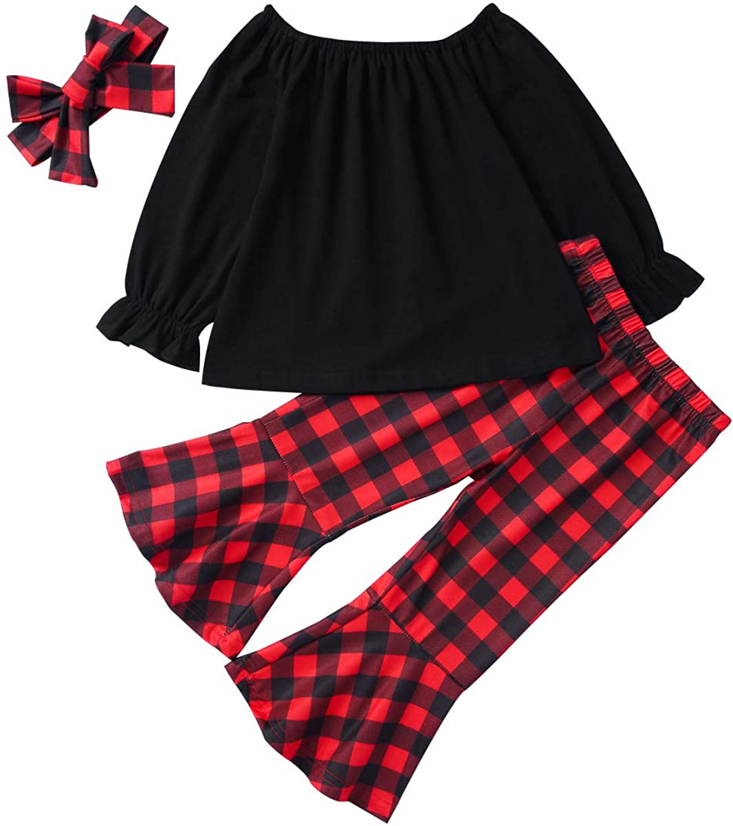 3PCS Kids Toddler Baby Girls X-mas Outfits Solid Bell Long Sleeve Plaid Flare Pants Winter Clothes Set