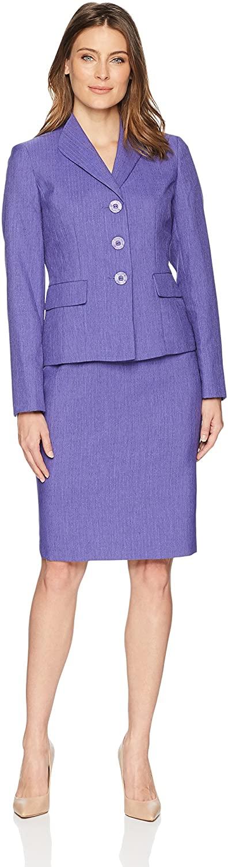 Le Suit Women's Plus Size Weave 3 Button Wide Lapel Skirt Suit