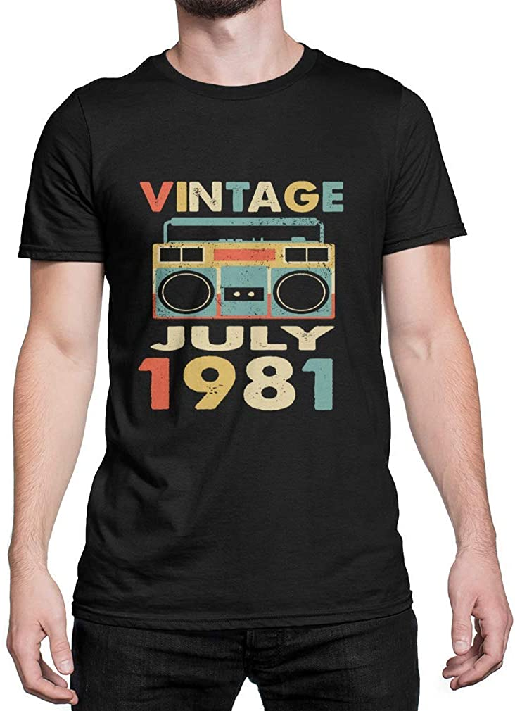 UMACVN Vintage July 1981 Retro 38th Birthday Gifts Black Cotton Size S-3XL