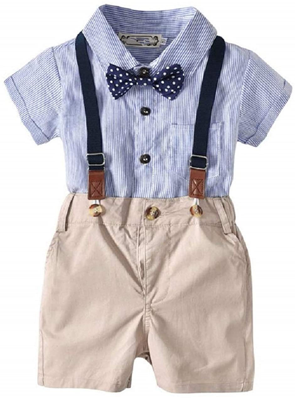 Baby Boys Short Sleeve Gentleman Outfits Suits Infant Overalls Clothing Set Blue Shirt+Bib Pants+Tie