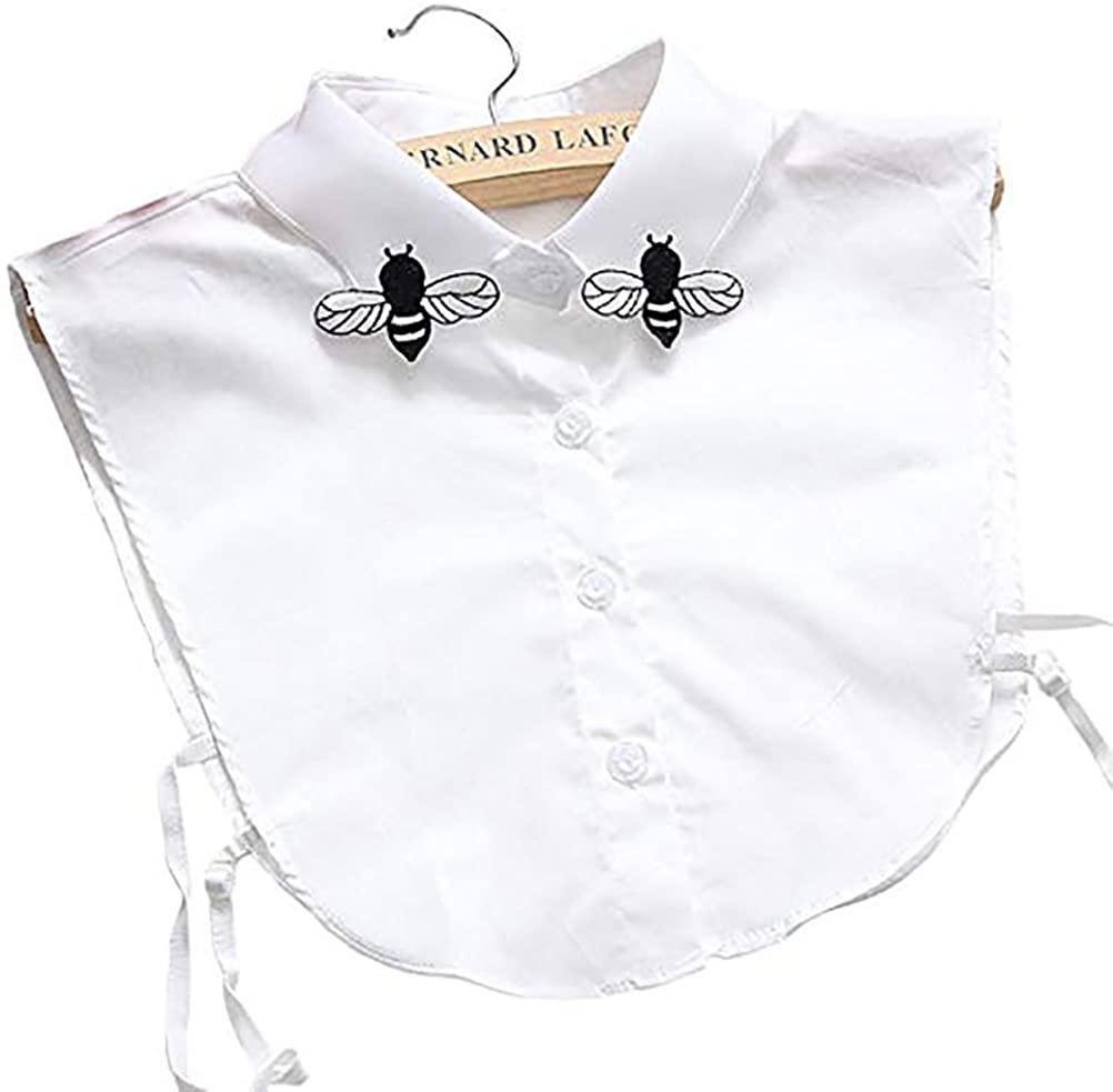 LANGUGU Stylish Detachable Half Shirt Blouse Chiffon False Collar Embroidered Butterfly Fake Collar Dickey Collar