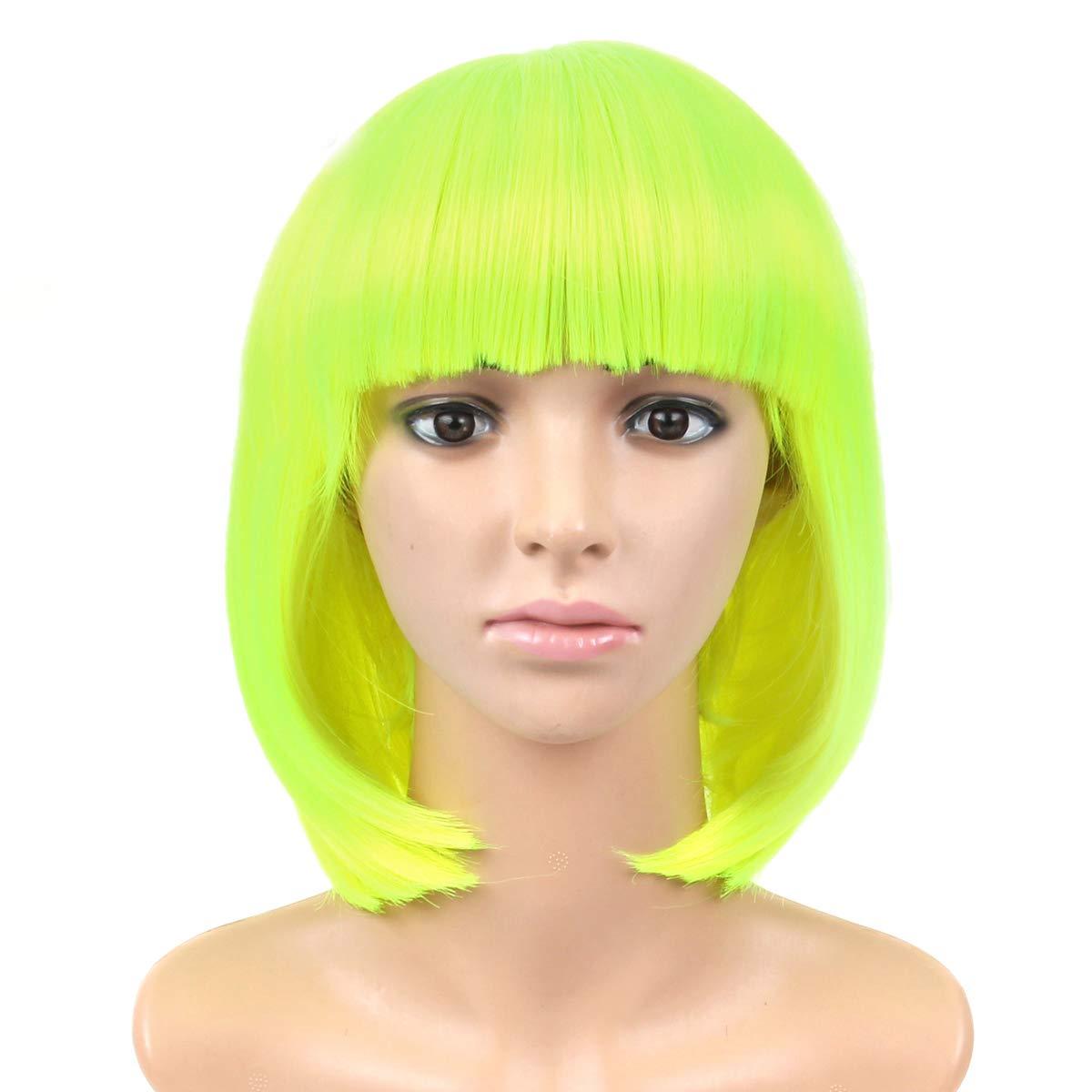LEEONS 12 Neon Green Short Straight Bob Hair Full Wigs Cosplay Party Anime Kanekalon Synthetic Fiber Natural Looking Wigs