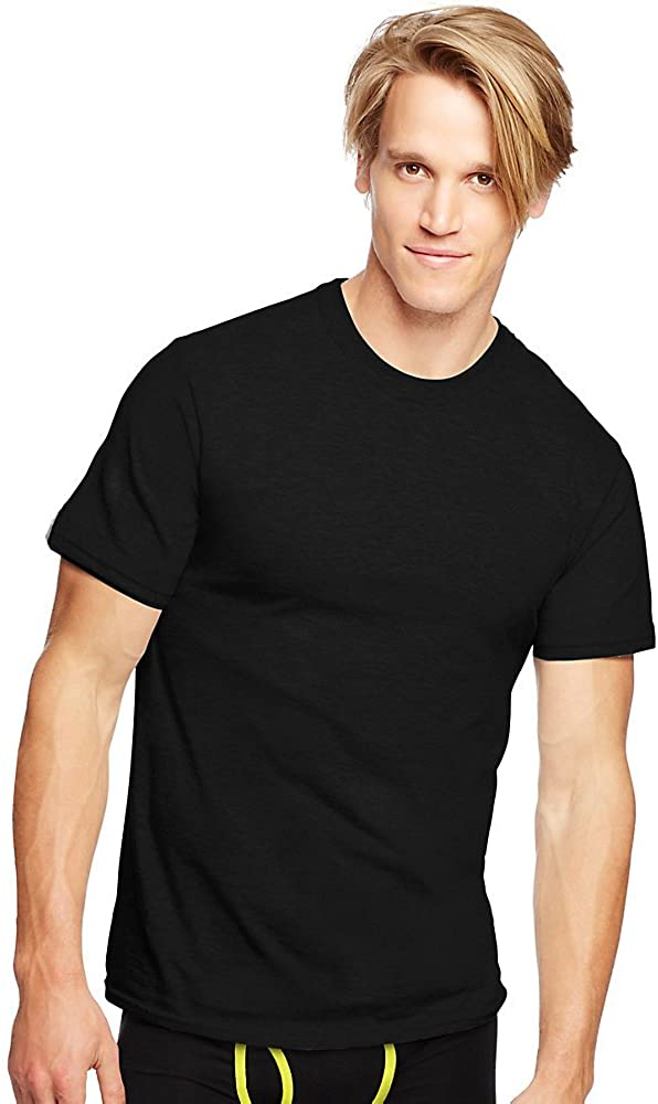Hanes Classics Men'S Traditional Fit Comfortsoft Tagless Dyed Black