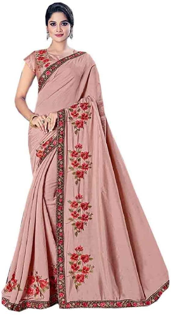 Ethnic Festival Special Designer Pink Sequin Border Silk Indian Saree Women Muslim Sari Blouse 957/E MV