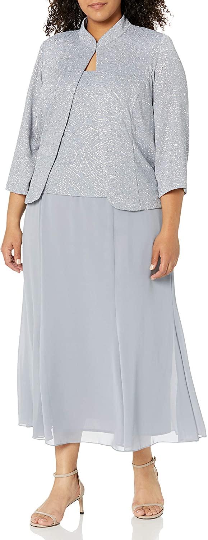 Alex Evenings Women's Plus-Size Gown and Mandarin Jacket Set