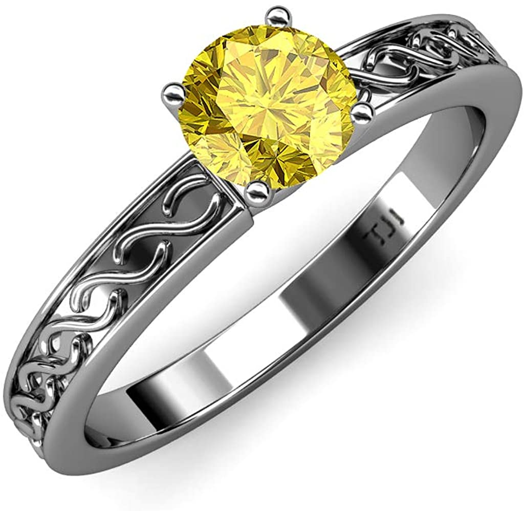 TriJewels Round Yellow Sapphire 1 ct Infinity Womens Solitaire Engagement Ring 14K White Gold.size 6