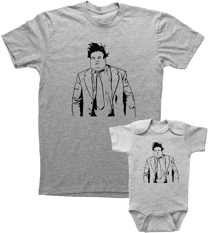 Chris Farley Adult T Shirt & Onesie Bundle/Unisex Grey Shirt with Onesie Set