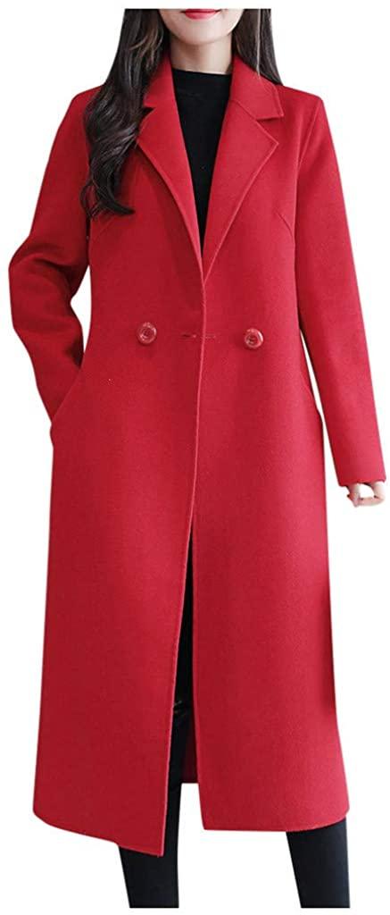 Dainzuy Women's Wool Blend Coat Winter Warm Double Breasted Lapel Mid-Long Trench Outerwear Pea Overcoat