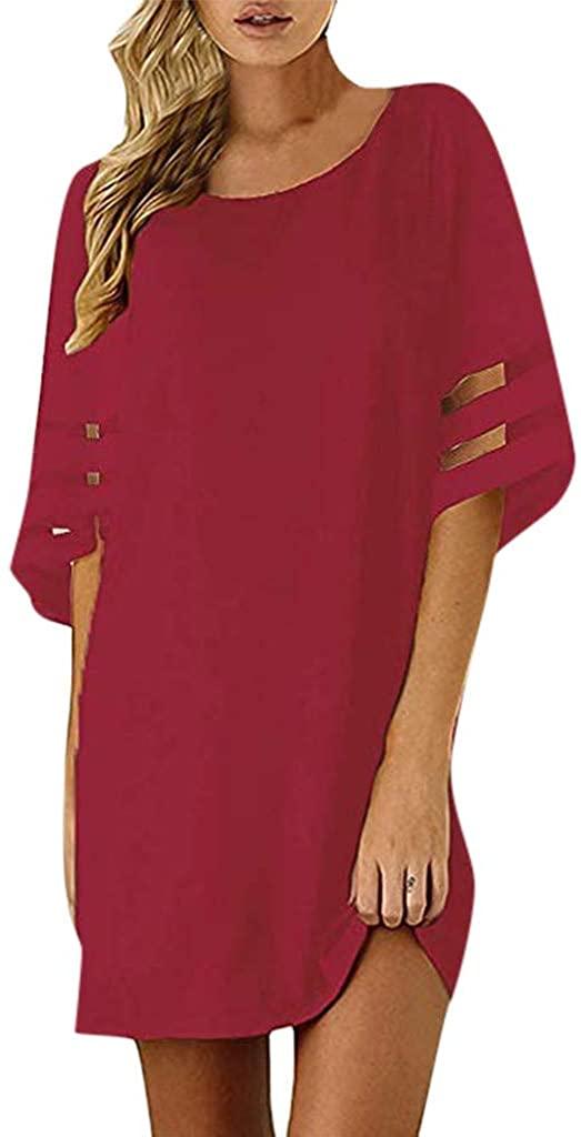 nightfall Women Mini Dress Summer Solid Crew Neck Tunic Sundress Self-tie Half Sleeves T Shirt Dresses