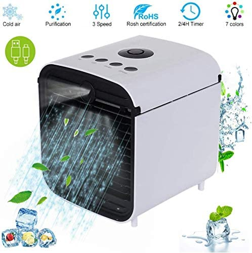 PBQWER Mini Air Cooler Mobile Air Conditioners, Air Cooler Humidifier Air Freshener Air Conditioner 3 in 1, with 3 Speeds LED Night Light (White)
