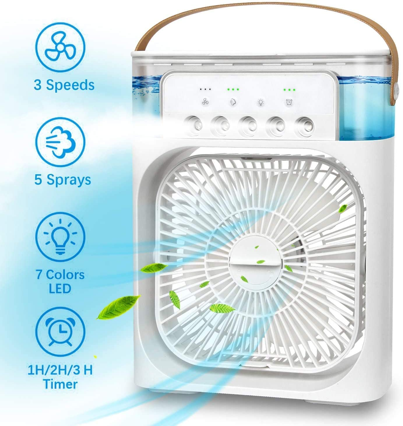XKRSBS Portable Air Conditioner Fan, Mini Evaporative Air Cooler with 7 Colors LED Light, 1/2/3 H Timer, 3 Wind Speeds and 3 Spray Modes