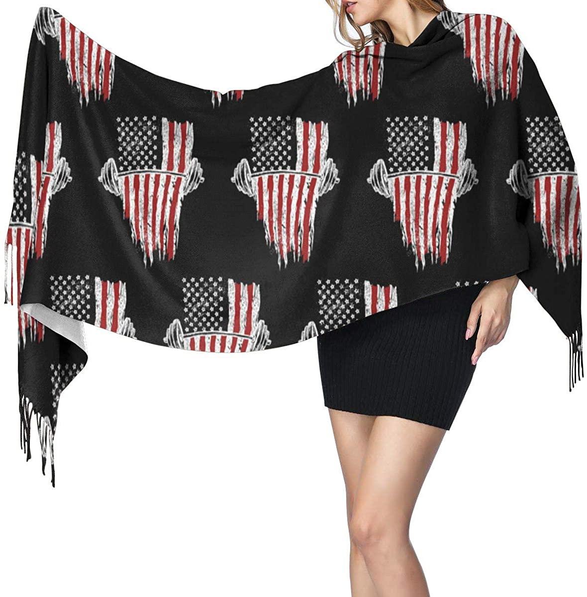Barbell And American Flag Women Print Tassel Shawls Scarf Neckerchief Face Mask
