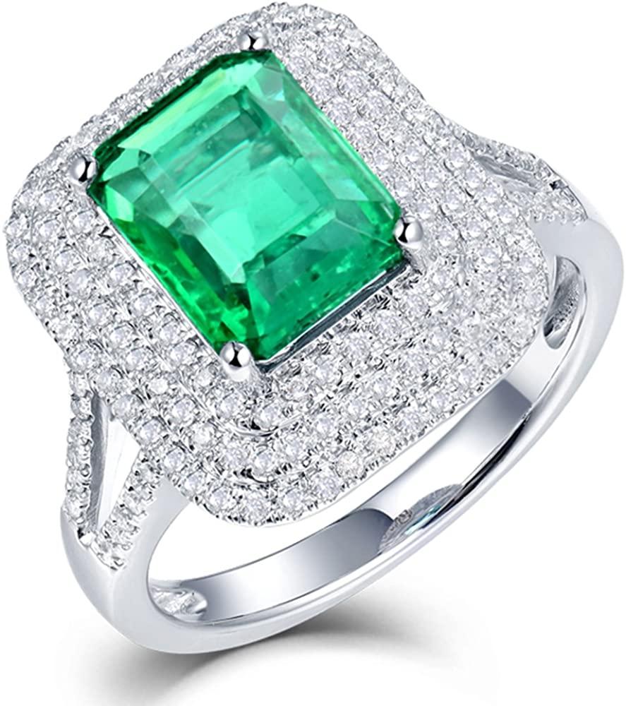 Lanmi Beautiful Natural Green Emerald Diamonds Engagement Ring Solid 14K White Gold Wedding Rings for Ladies Women