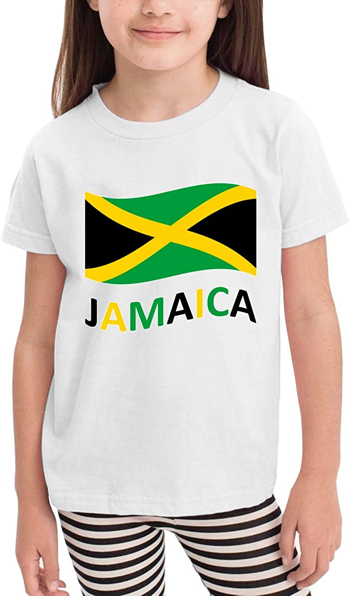 LINGMEI Children's T-Shirt Jamaican Flag Kids Boys and Girls Short-Sleeved Shirt