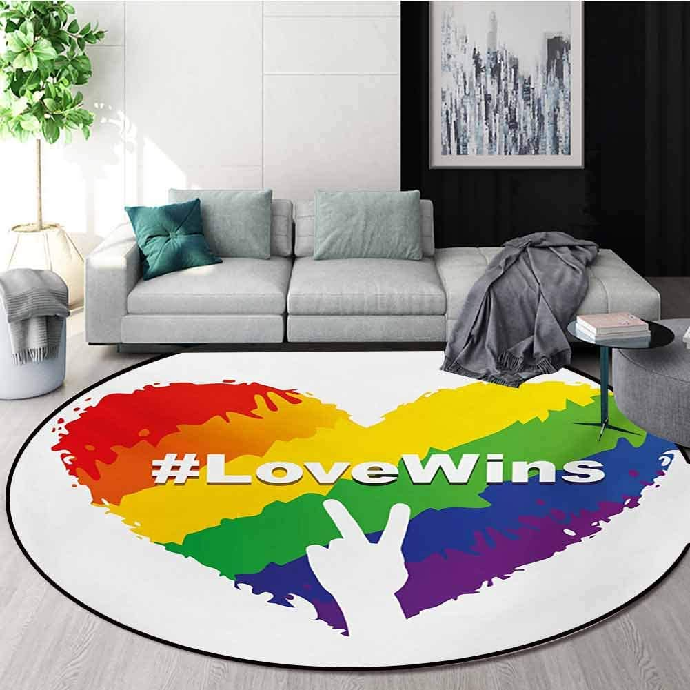 RUGSMAT Pride Modern Machine Washable Round Bath Mat,Artful Illustration of Colorful Heart in LGBT Colors Love Wins Hashtag Valentines Non-Slip Soft Floor Mat Home Decor,Round-47 Inch