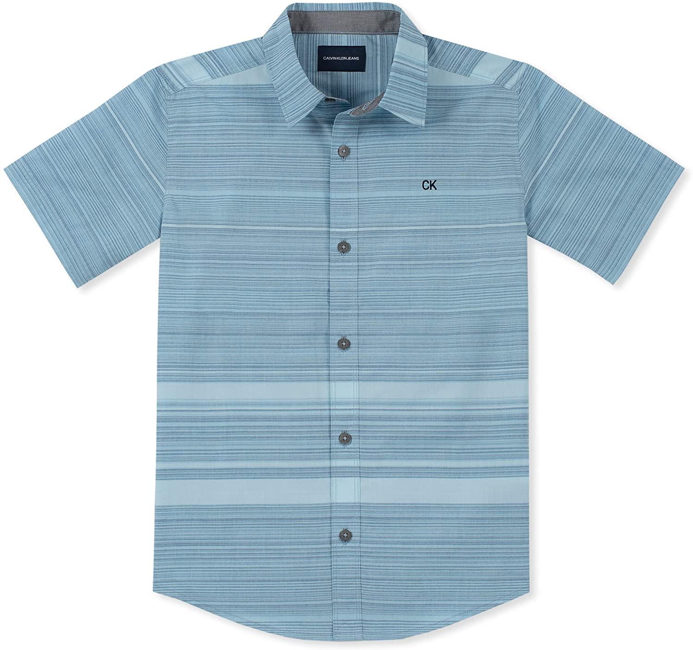 Calvin Klein Boys' Big Stripe Short Sleeve Shirt