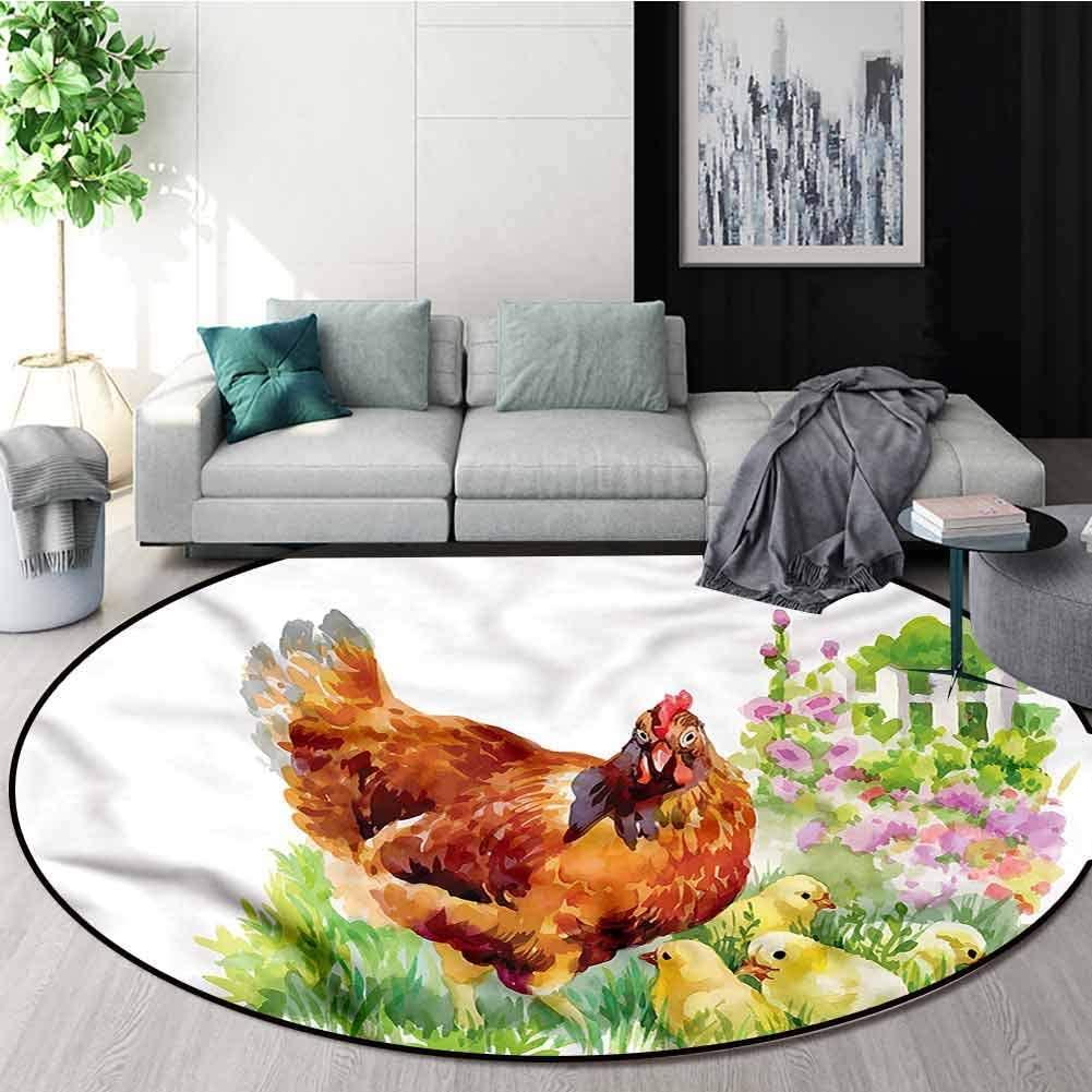 RUGSMAT Chicken Round Kids Rugs,Aquarelle Farmlife Poultry Non-Slip Soft Floor Mat Home Decor Diameter-31