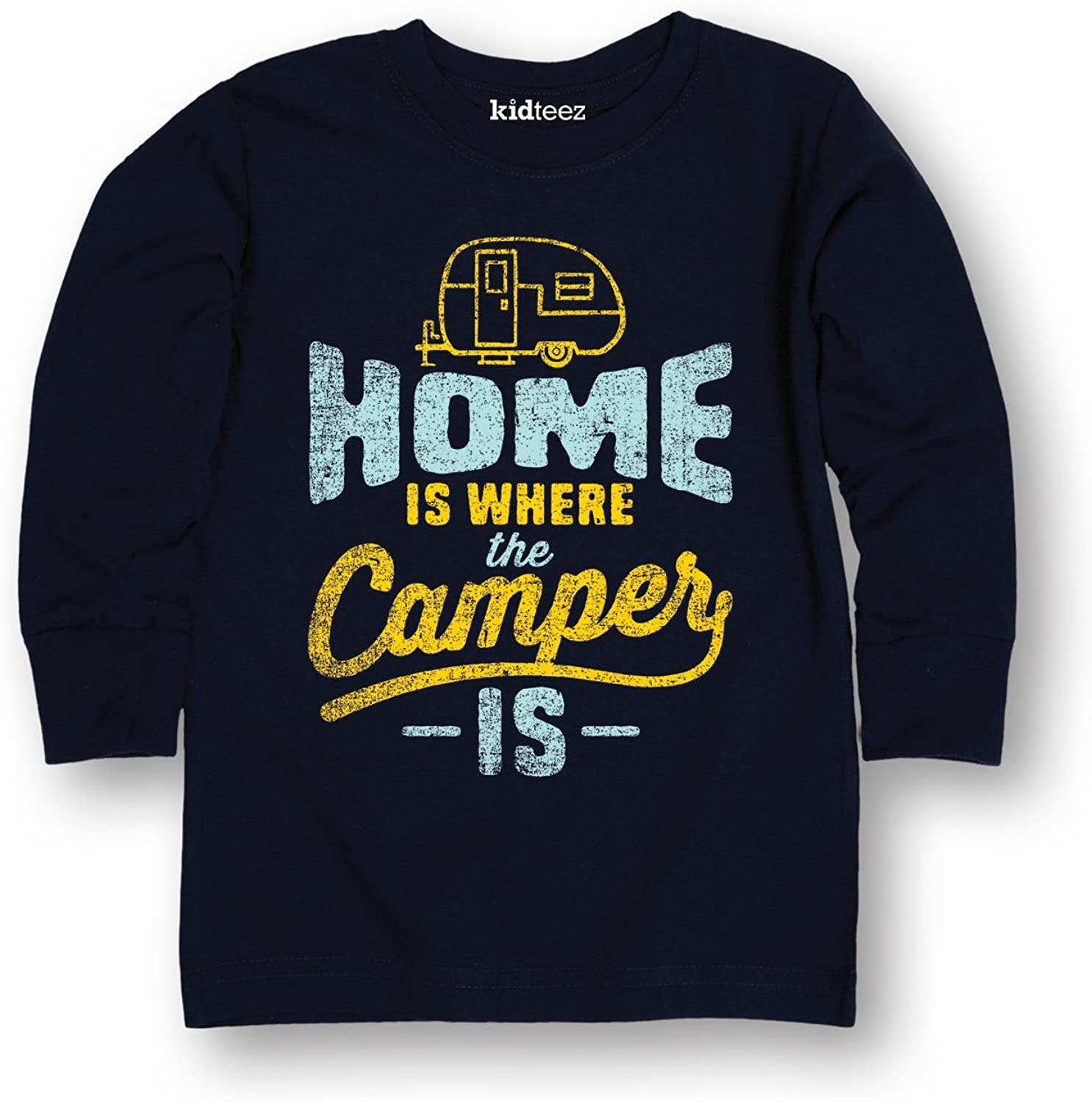Home is Where The Camper is -Toddler Long Sleeve TEE-5T Navy