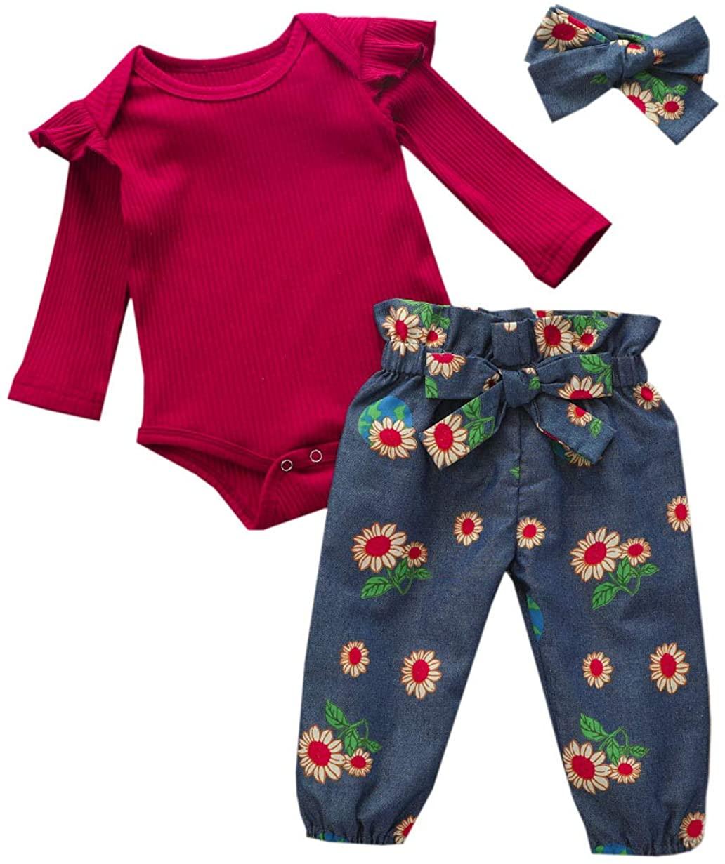 Cute Newborn Baby Girl Solid Long Sleeve Romper Bodysuit Top + Sunflower Long Pants + Headband 0-24M Baby Girl Outfit