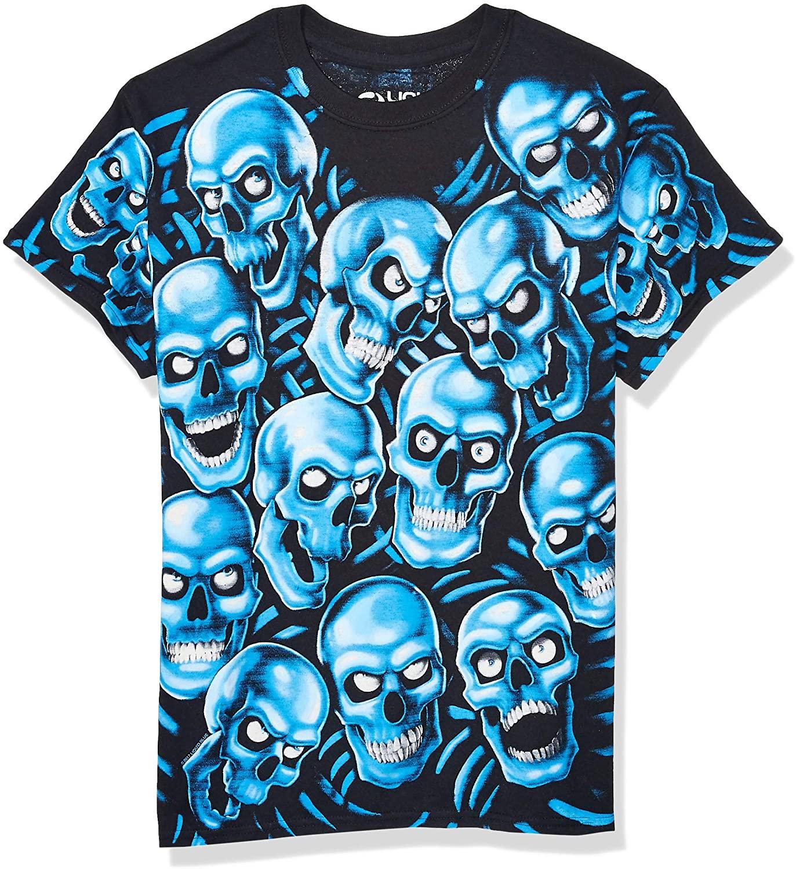 Liquid Blue Skull Pile Blue Fantasy All Over Print Short Sleeve T-Shirt