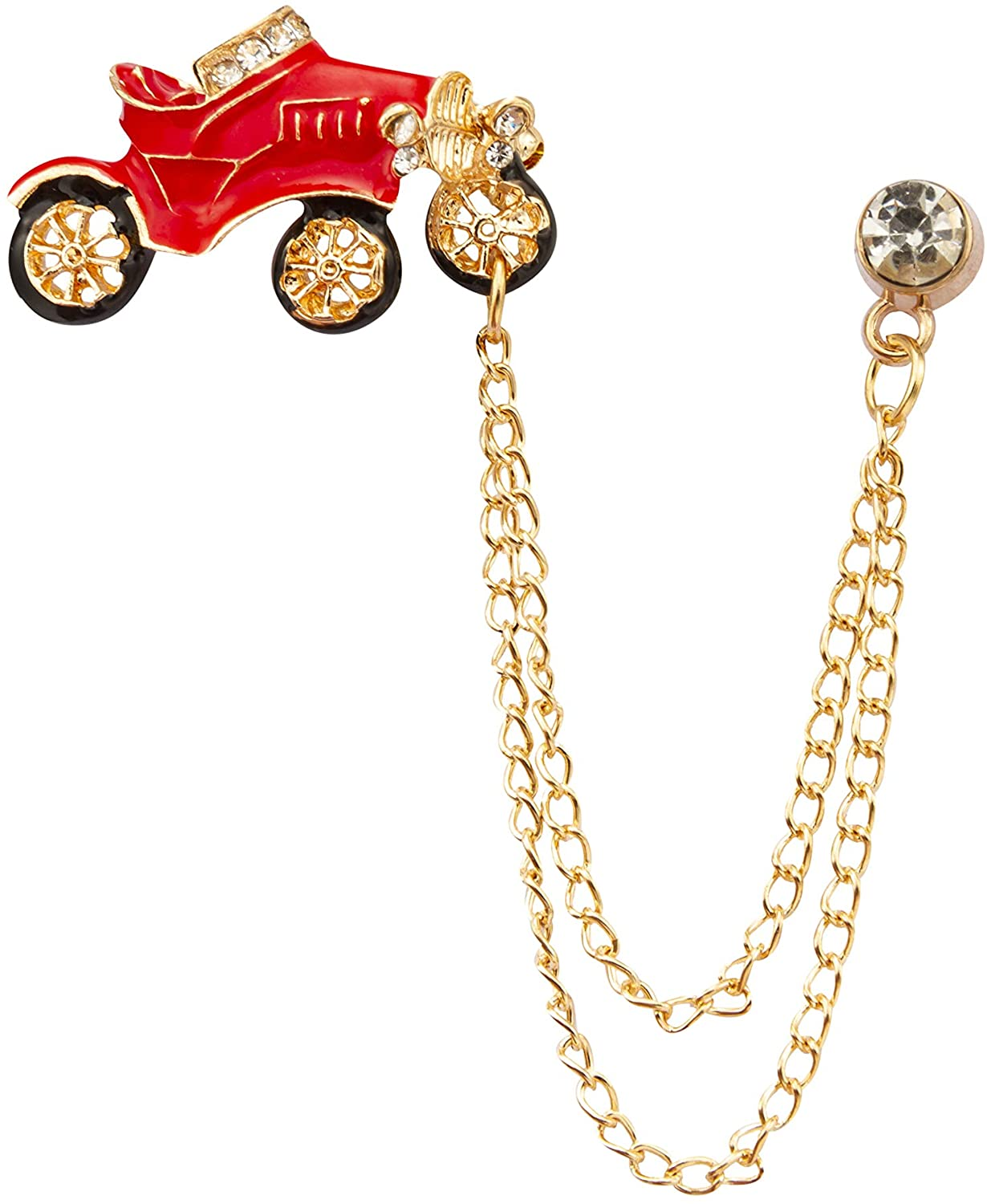Knighthood Red Vintage Car with Hanging Chain Lapel Pin Badge Coat Suit Jacket Wedding Gift Party Shirt Collar Accessories Brooch