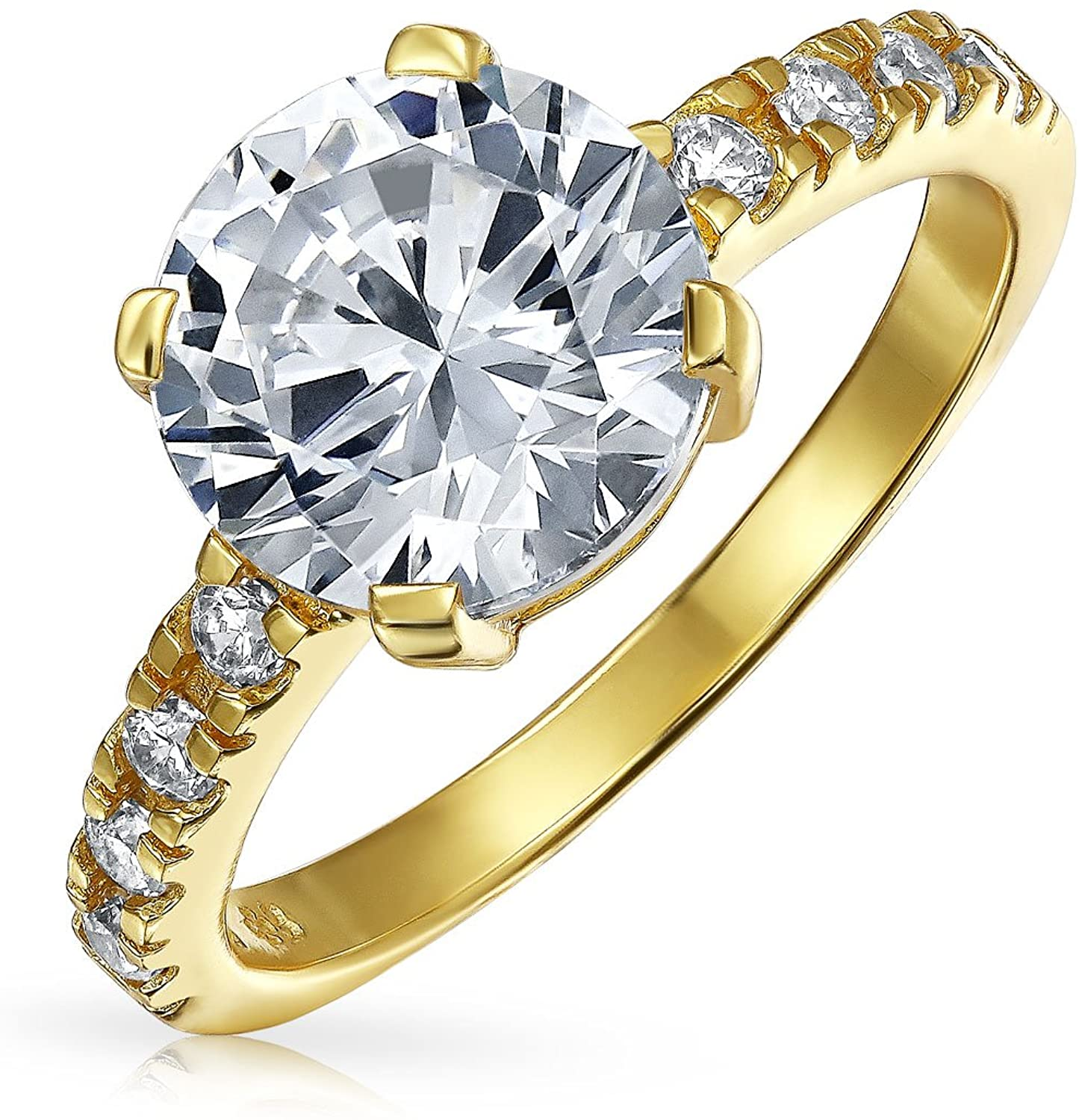 4CT Round Brilliant Solitaire AAA CZ Cubic Zirconia Engagement Ring For Women 2MM Band 14K Gold Plated Sterling Silver