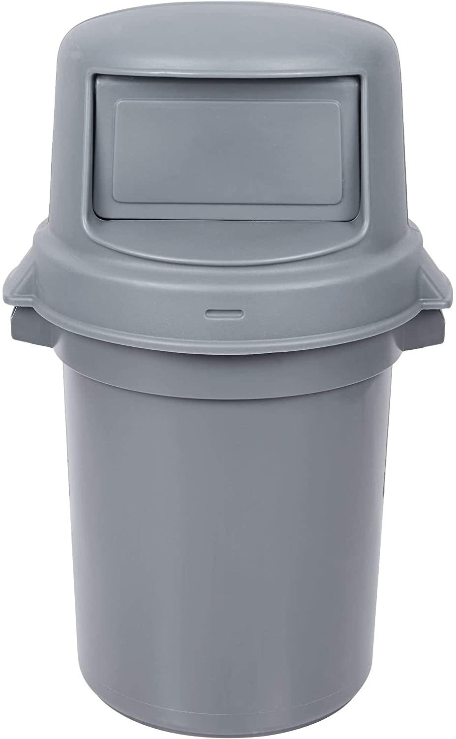 2 Pack! 32 Gallon / 121 Liters Gray/Black Trash Can with Dome Top Lid. Trash Container. Trash Bucket. Garbage Bin. Waste Bin. Home Trash Can. Commercial Waste bin.
