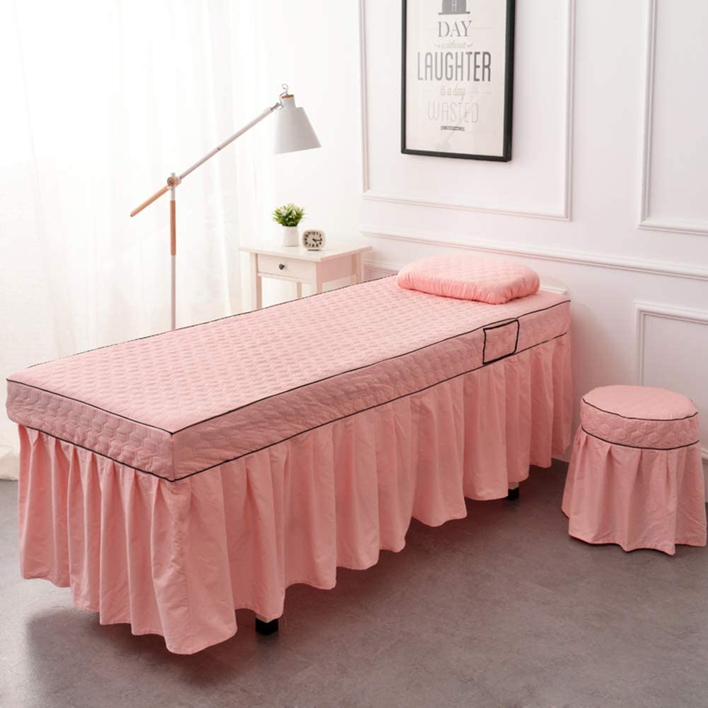 XUESUNSS Premium Table Skirt Microfiber Massage Table Sheet Set Solid Color Massage Table Skirt for Beauty Salon (Physiotherapy) Bed -Pink 80x190cm(31x75inch)
