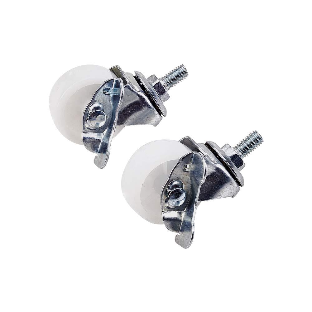 MroMax 1.5 Inch Swivel Caster Wheels PP 360 Degree Threaded Stem Caster Wheel with Brake M8 x 15mm, 33lb Capacity Each Wheel, Pack of 2