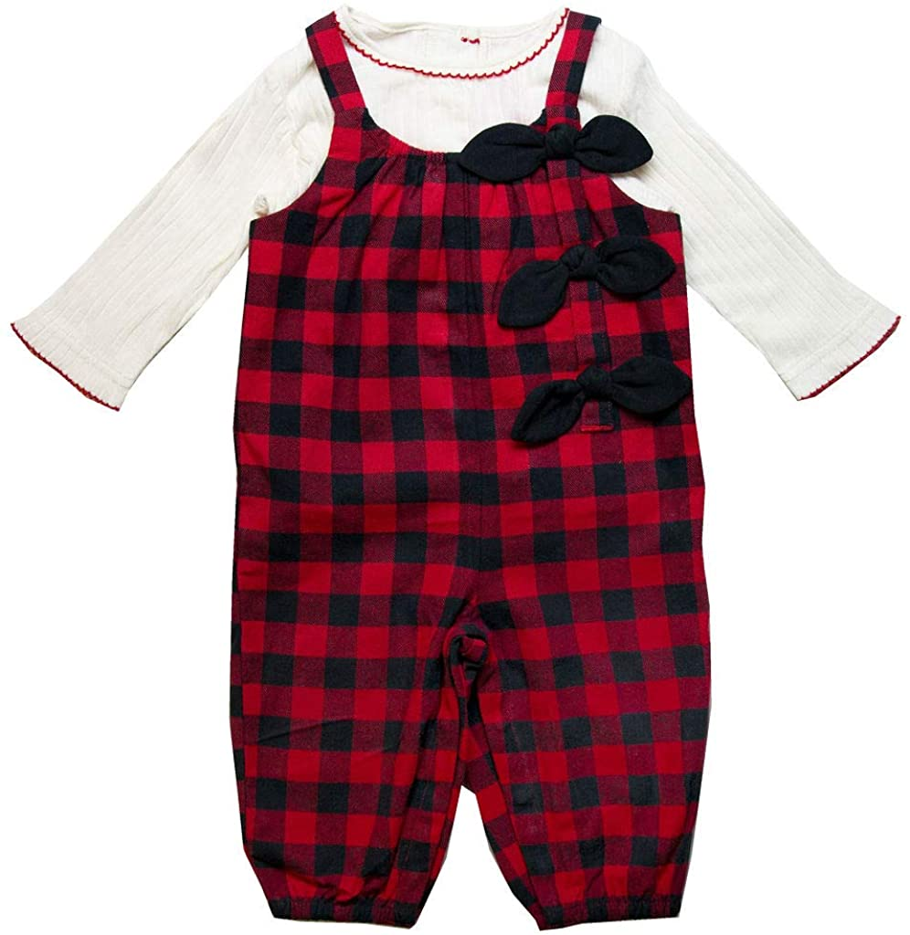 Good Lad Newborn/Infant Girls Red Buffalo Plaid Flannel Overall Set