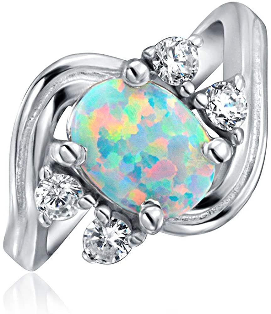 Cubic Zirconia Accent 925 Sterling Silver Vintage Style CZ Oval Statement White Created Opal Engagement Ring For Women