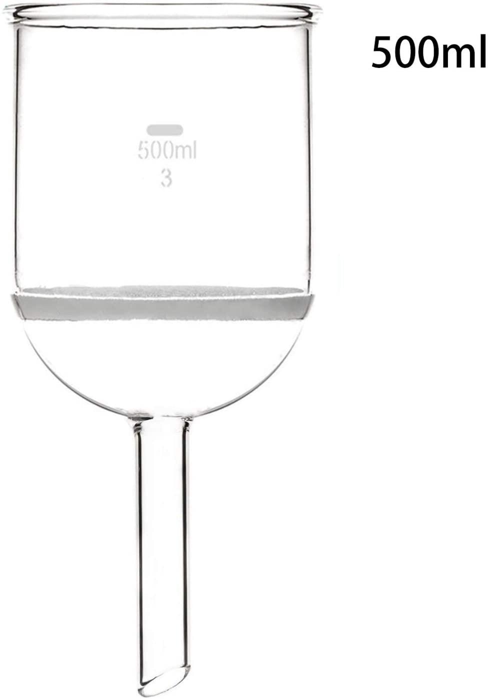 JIANFEI LIANG 500ml Glass Buchner Funnel, Borosilicate Glass 3.3, W/3# Coarse Filter, Straight Tube, Chemistry Labware (Size : 500ml)