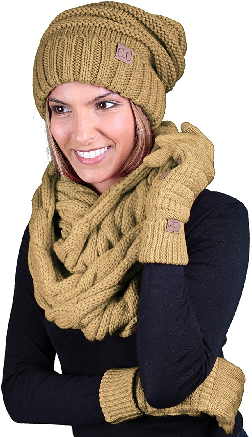 Oversized Beanie, Texting Gloves, Scarf - Camel