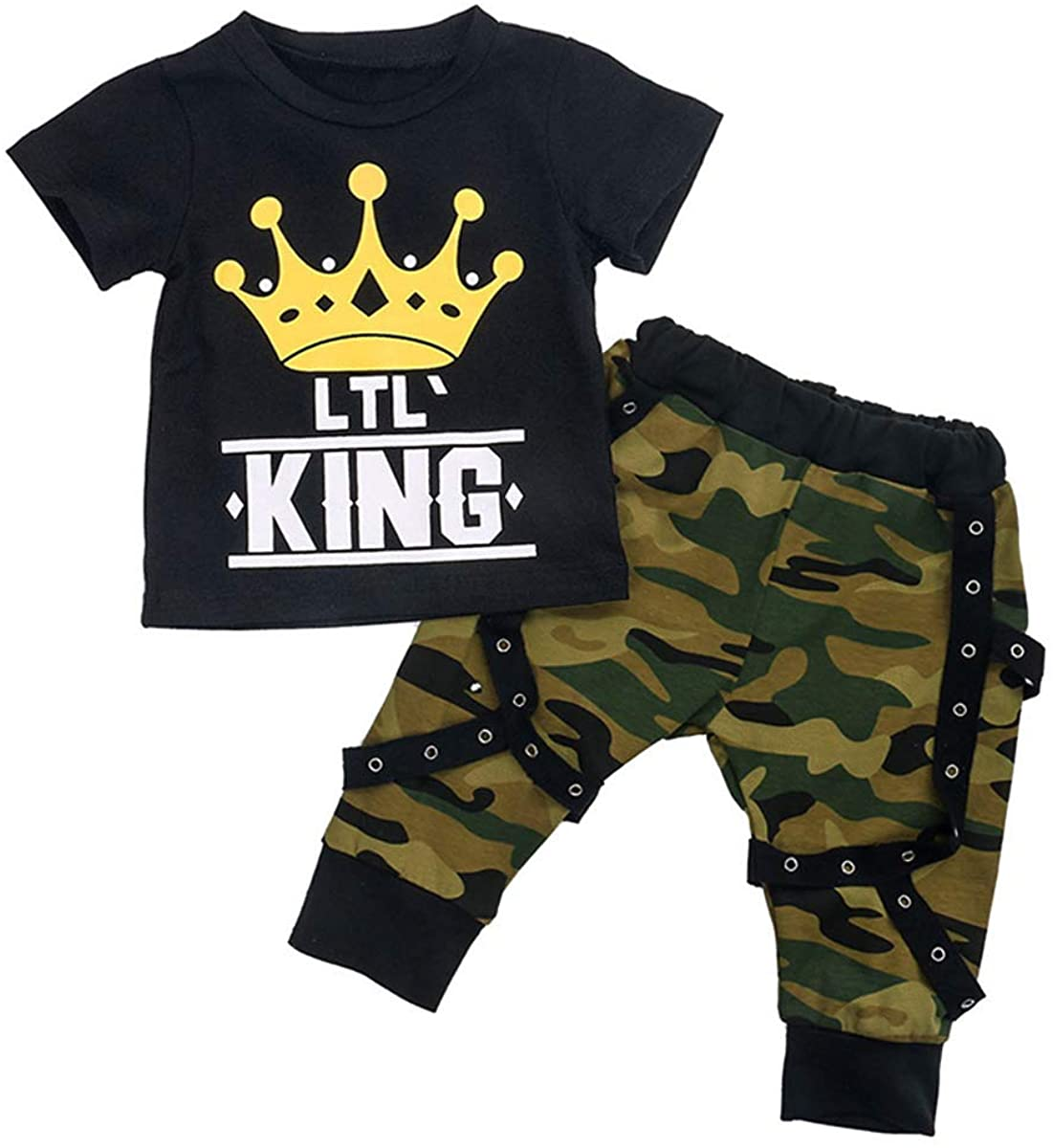 Kids Toddler Newborn Baby Boy Pants Outfit Short Sleeve T-Shirt Top Camouflage Pants 2Pcs Casual Clothes Set