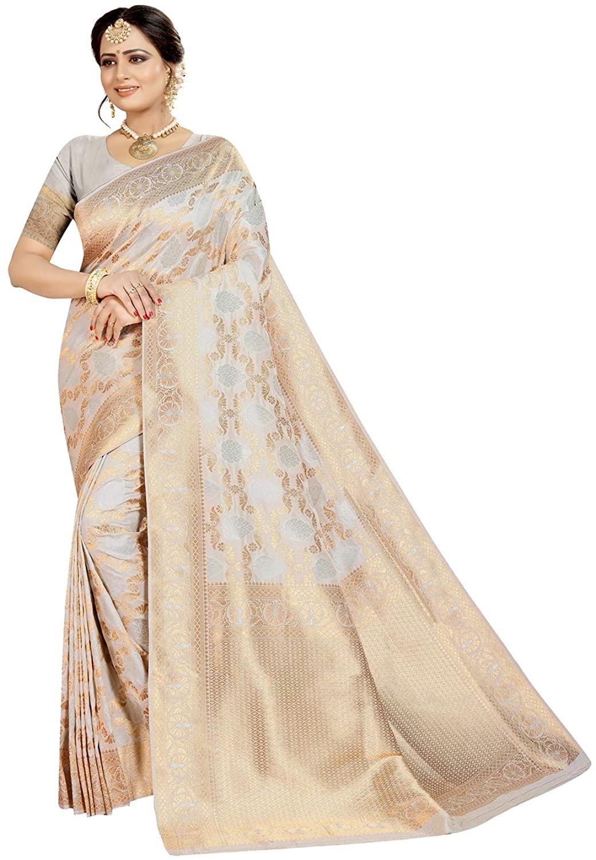 Indian Saree for Women Ethnic Sari Cream Sari with Unstitched Blouse. ICW2842-5