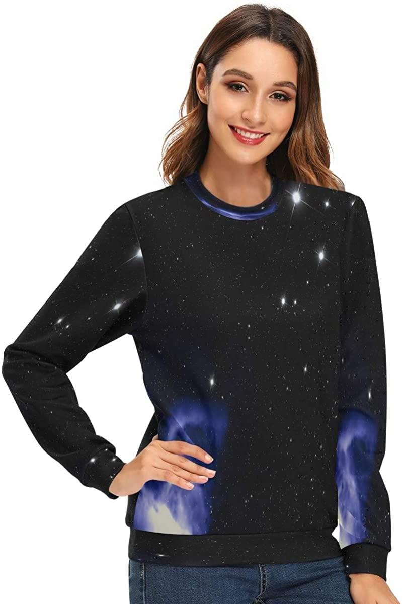 Love Animal Women's Crewneck Sweatshirt Deep Space Star Field Long Sleeve Pullover Hoodless Sweaters College