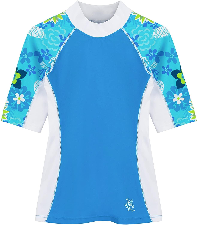 Tuga Girls Short Sleeve Rash Guard Children 1-14 Years, UPF 50+ Sun Protection Swim Shirt