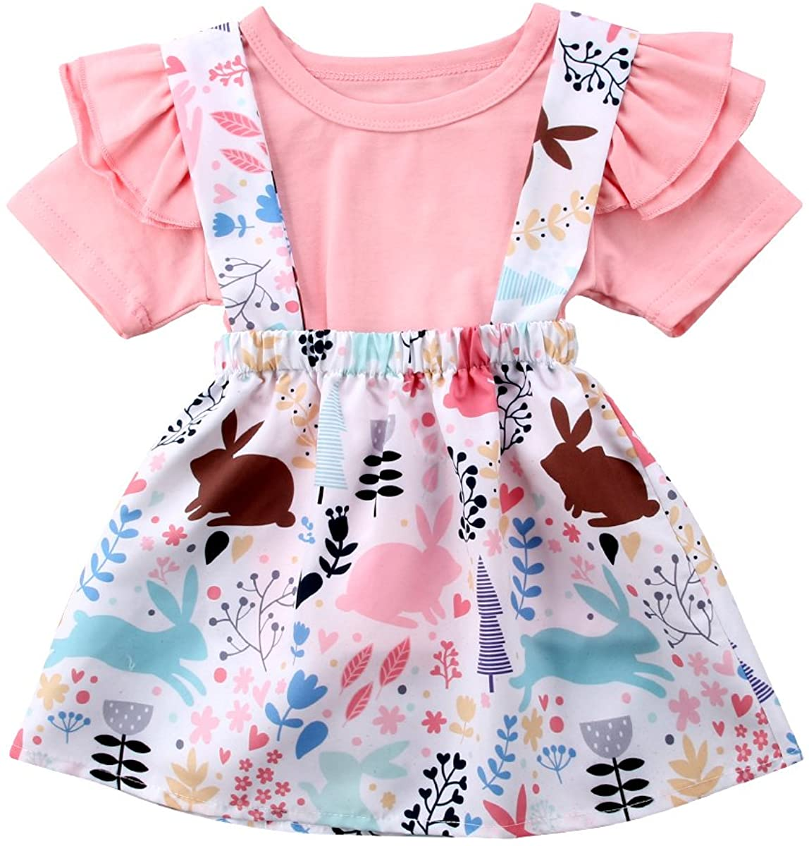 Baby Girl Clothes Skirt Ruffle Short Sleeves Top Bunny Print Floral Suspender Tutu Dress Outfits Set