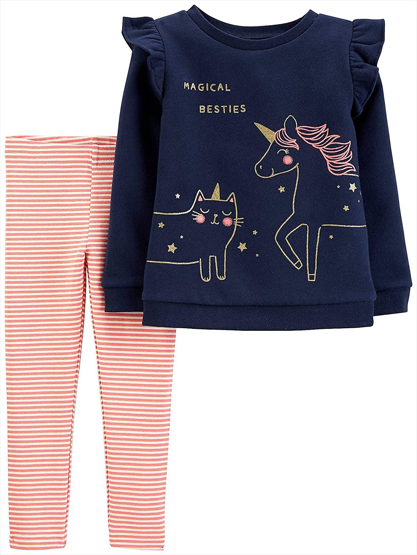 Carters Baby Girls 2-pc. Magical Besties Leggings Set 12 Months Navy Blue/Pink