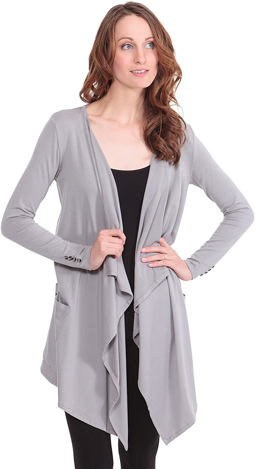 Women's Long Sleeve Draped Cardigan - Stylish Apparel by Texere (Caireen)