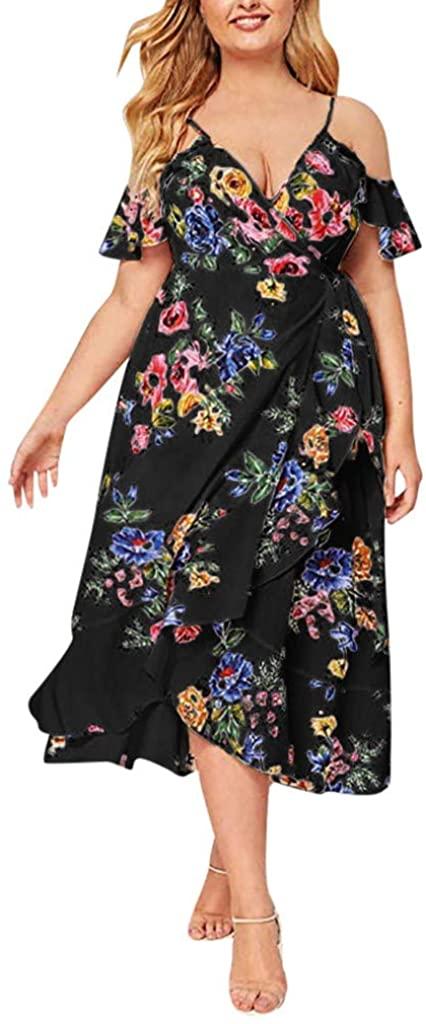 Gergeos Women Plus Size Sundress V Neck Floral Print Summer Boho Cold Shoulder Party Maxi Dresses