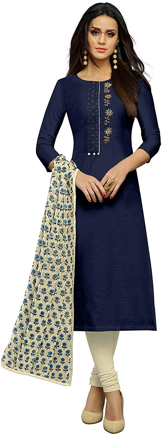 Indian Decor & Attire Women's Unstitched Cotton Blend Salwar Suit Dupatta Material - Denim Blue