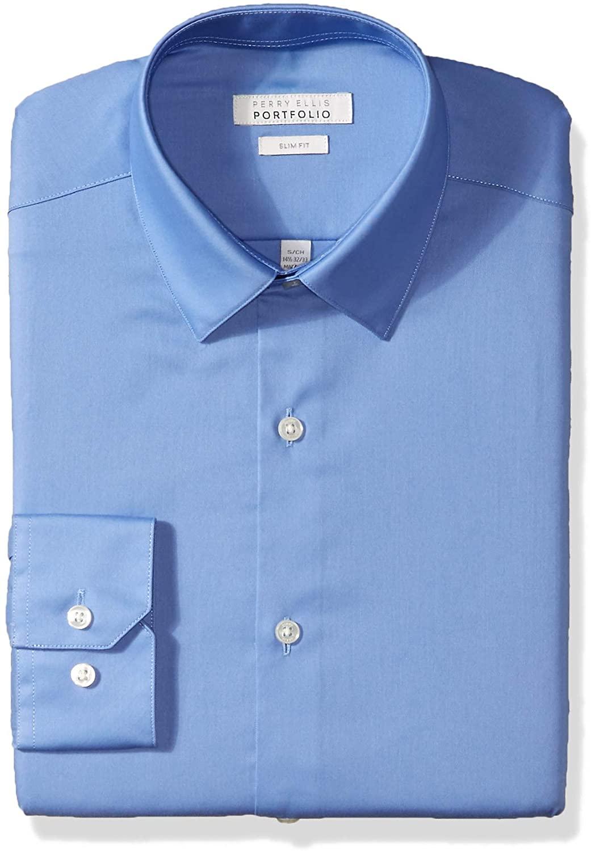 Perry Ellis Men's Slim Fit Wrinkle Free Fashion Dress Shirt