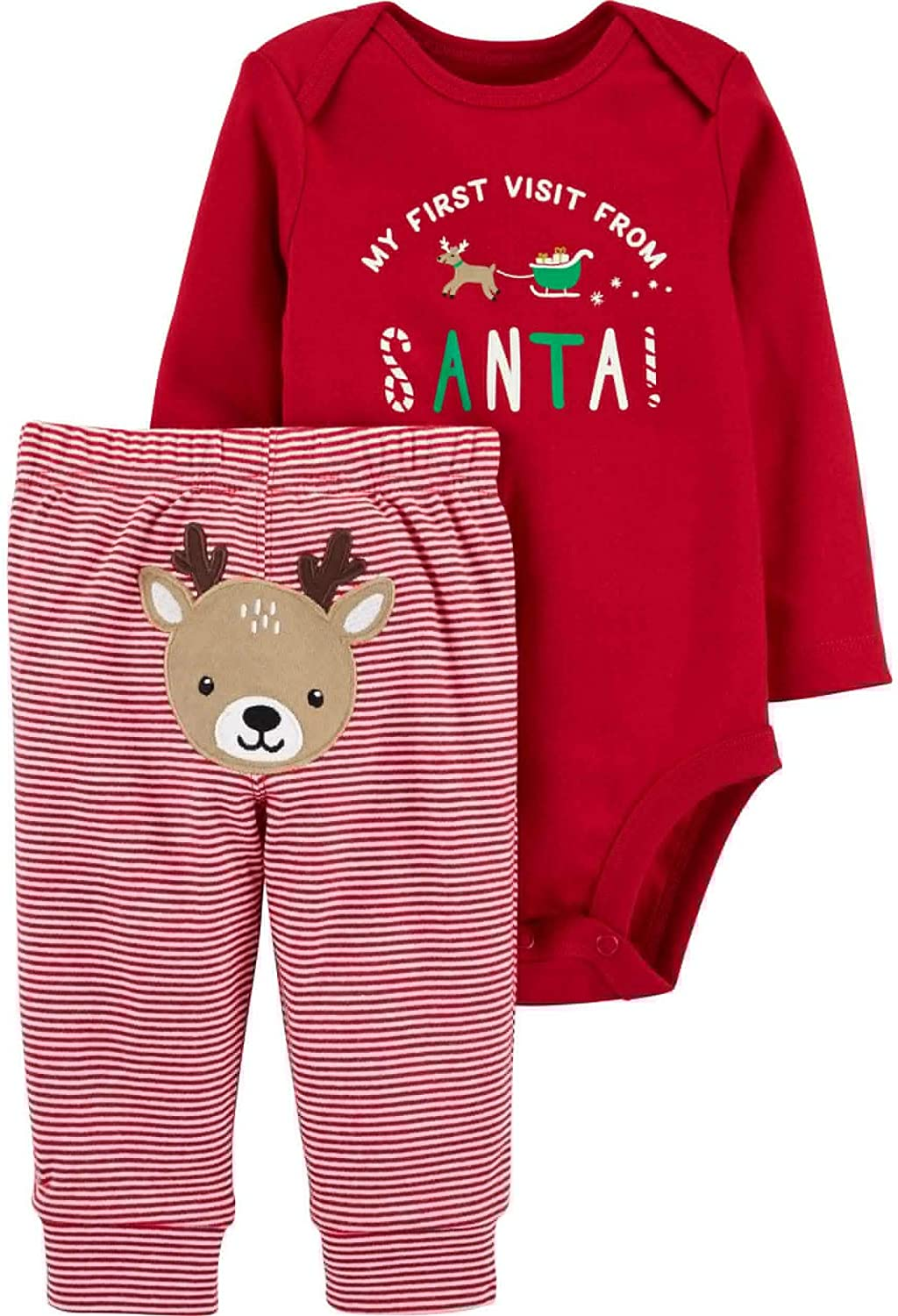 Carter's New Winter Holiday Preemie 2-Piece Christmas My First Visit from Santa Bodysuit and Striped Pants with Embroidered Reindeer Set