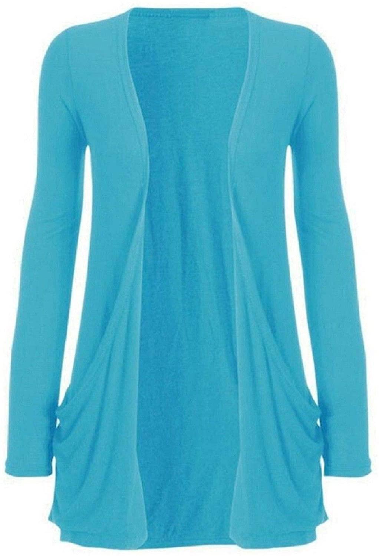 Hot Hanger Ladies Pocket Long Sleeve Cardigan : Color - Turquoise : Size - 8-10 SM