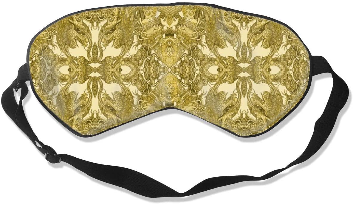 Golden Dragon Fabric Eye Mask Sleeping Mask 100% Double-Sided Silk Eyeshade Eye Cover
