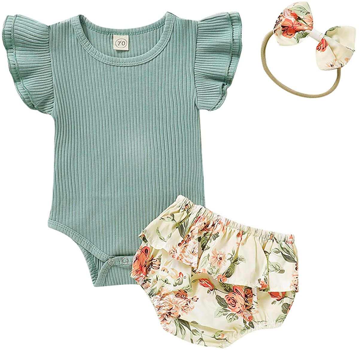 Newborn Baby Girl Ribbed Romper Jumpsuit Floral Shorts Headband Summer Outfit Clothes Set