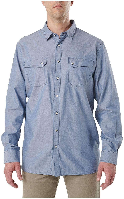 5.11 Tactical Men's Cotton Buckshot Chambray Long-Sleeve Shirt, 2X-Large, Diplomat, Style 72464